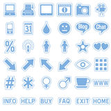Blue Web Stickers Icons [4]. Set of 36 website and application stickers icons isolated on white background. Blue Web Stickers Icons – Part 4: there are 144 Royalty Free Stock Photography