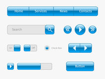 blue web ui elements on gray Royalty Free Stock Photography