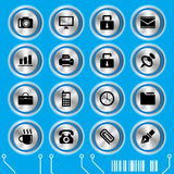Blue website icons set Royalty Free Stock Images