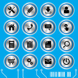 Blue website icons set. Illustration