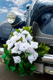 The blue wedding automobile Royalty Free Stock Image