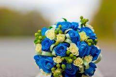 Blue wedding bouquet. Blue rose Stock Photos