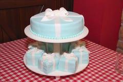 Blue wedding cake and punkakes royalty free stock photography