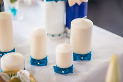 Blue wedding decoration. With candles Royalty Free Stock Photography