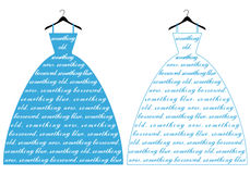 Blue wedding dress, vector Stock Image