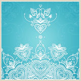 Blue wedding invitation design template with doves, hearts. Royalty Free Stock Photography