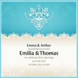 Blue wedding invitation design template. Stock Photos