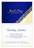 Blue wedding invitation with luxury golden lace royalty free illustration