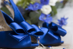 Blue wedding shoes Royalty Free Stock Images