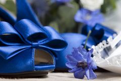 Blue wedding shoes Stock Images