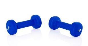 Blue weightlifting instruments Royalty Free Stock Images