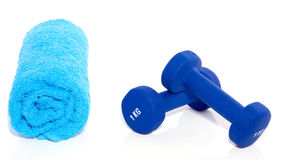 Blue weightlifting instuments Stock Image