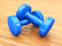 Blue weights gym Stock Images