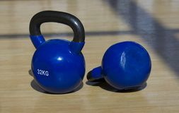 Blue weights for sport royalty free stock photos