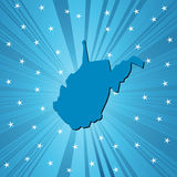 Blue West Virginia map Royalty Free Stock Images