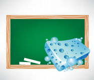 Blue wet sponge and blackboard Stock Photo
