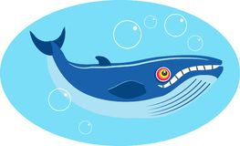 Blue whale. Swimming in the ocean and blowing bubbles Stock Image