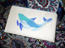 Blue whale of beads Embroidery on fabric. Blue whale of beads. Embroidery on fabric royalty free stock photography