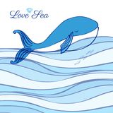 Blue Whale cartoon illustration isolated on decorative wave background, vector graphic colorful doodle animal, Character. Design for greeting card, children Stock Photo