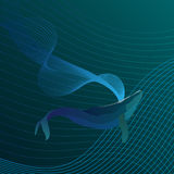 Blue Whale in the depths of the sea line. vector. Royalty Free Stock Images