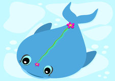 Blue Whale with Flower Royalty Free Stock Photo