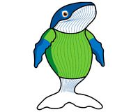Blue whale friend. Whale character with green shirt Vector Illustration