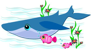 Blue Whale with Friendly Pink Fish Stock Images
