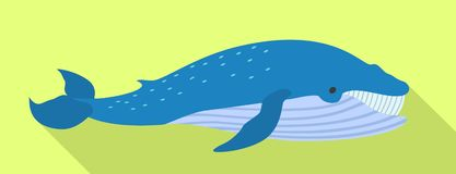 Blue whale icon, flat style vector illustration