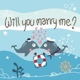Blue whale Marine couple said `Will you marry me` royalty free illustration