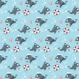 Blue whale Marine couple vector seamless pattern royalty free illustration