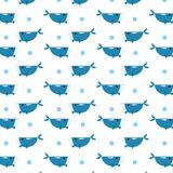 Blue whale pattern scattered with circles water bubble abstract vector illustration