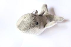 Blue Whale Stuff Toy. A photo taken on a small blue whale stuff toy against a white backdrop stock photos