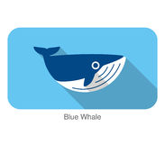 Blue Whale swimming in the sea flat icon design Royalty Free Stock Photography
