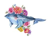 Blue whale watercolor with rose, anemones, summer flowers. Nautical greeting card vector illustration