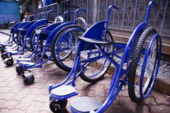 Blue Wheel Chairs Stock Image