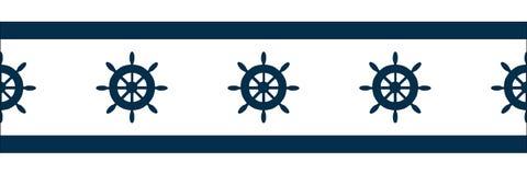 Vector blue wheel on white background repeat seamless border stock illustration