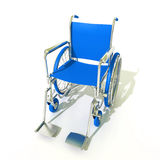 Blue wheelchair. 3D rendering of a blue and chrome wheelchair on a white background Royalty Free Stock Image