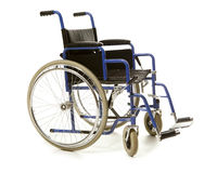 Blue wheelchair blue stock images