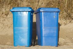 Blue wheelie bins. Stock Images