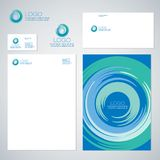 Blue whirlpool logo and identity. Vortex emblem. Tornado icon. Identity. Letter, envelope, business card, poster Stock Images