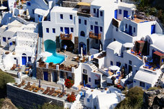Blue and white. The architecture of the houses on Santorini island, Greece royalty free stock photography