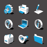 Blue-white 3D icon set 02. High detailed 3D vector icon set Royalty Free Stock Photo