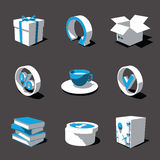 Blue-white 3D icon set 04. High detailed 3D vector icon set Stock Photography