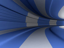 Blue and white 3d tunnel Stock Photos