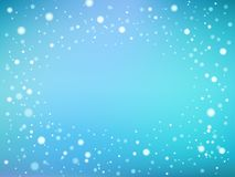 Blue and white abstract light spots or snowflakes or underwater bokeh frame background, vector stock illustration