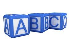 Blue and white alphabet blocks. On white background Stock Photos