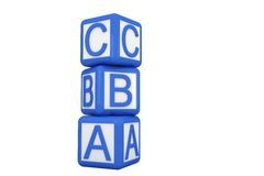Blue and white alphabet blocks Stock Images