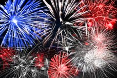 Free Blue White And Red Fireworks Background Stock Photos - 148039933