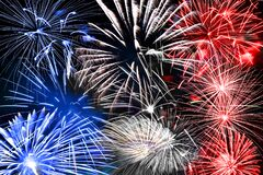 Free Blue White And Red Fireworks Background Royalty Free Stock Photo - 187096755