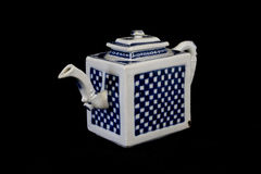 Blue and White Antique Chinese Teapot on Black Background Royalty Free Stock Photo